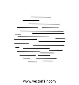 circle with striped design, silhouette style