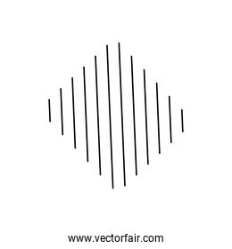 geometric shapes concept, stripes in rhombus shape icon, silhouette style