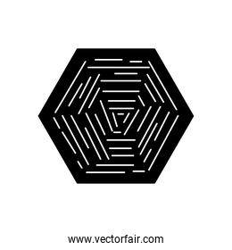 hexagon with striped abstract design, silhouette style