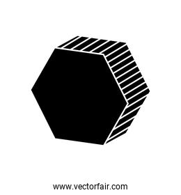 3d hexagon shape icon, silhouette style