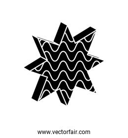 geometric shapes concept, geometric star with wavy lines icon, silhouette style