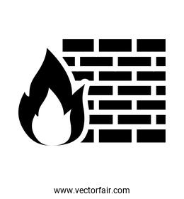 cyber security concept, firewall symbol, fire flame and wall, silhouette style