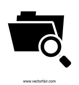 cyber security concept, folder with magnifying glass icon, silhouette style