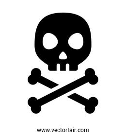 danger skull with crossed bones, silhouette style