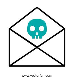 cyber security concept, envelope with skull icon, half line half color style