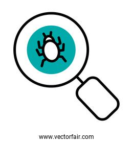 magnifying glass with bug icon, half line half color style