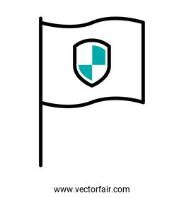 flag with security shield icon, half line half color style