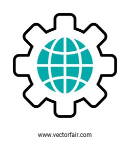 gear wheel with global sphere icon, half line half color style