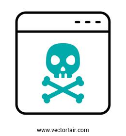 cyber security concept, web page with skull icon, half line half color style