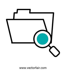 cyber security concept, folder with magnifying glass icon, half line half color style