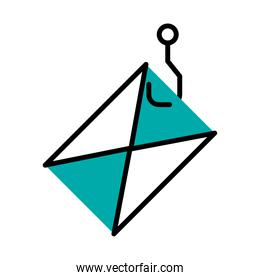 cyber security concept, hook with envelope icon, half line half color style