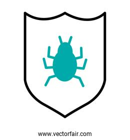 cyber security concept, shield with bug icon, half line half color style
