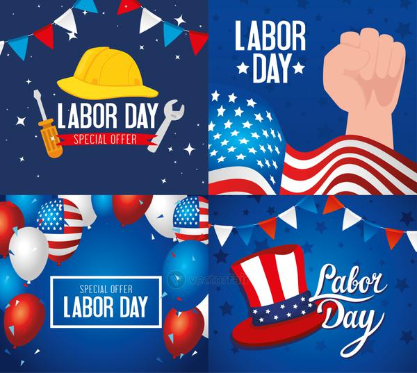 set of happy labor day holiday banners with decoration