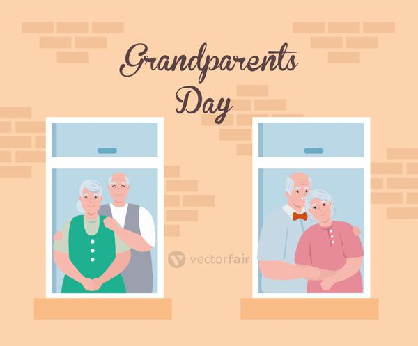 happy grand parents day with cute old people watching by the window