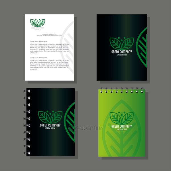 corporate identity brand mockup, notebooks with brochure green mockup, green company sign