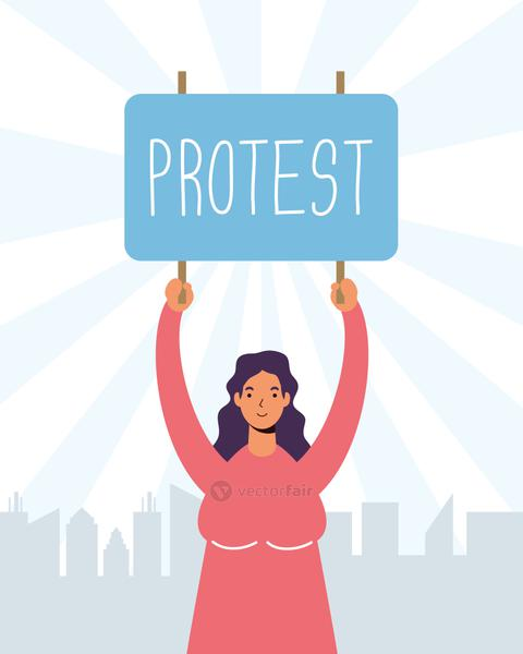 woman protesting with placard character