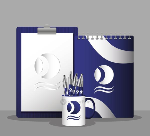 cup mug with pens and checklist branding