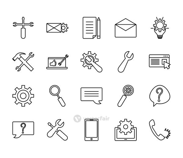 phone and Technical service icon set, line style