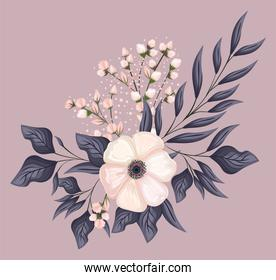 white flower with leaves painting vector design