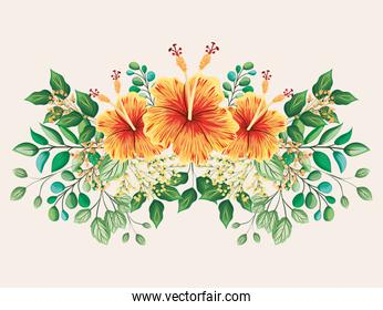 yellow and red hawaiian flowers with leaves painting vector design