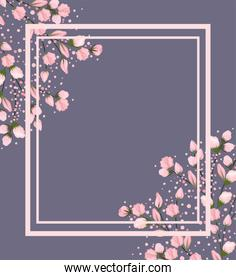 pink flowers branches painting with frame on gray background vector design