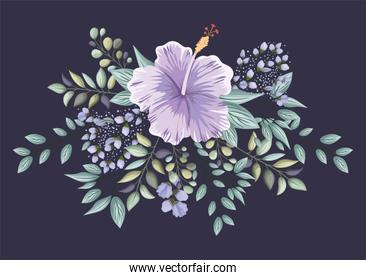 purple hawaiian flower with leaves painting vector design