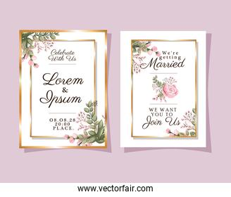Two wedding invitations with gold frames pink flowers and leaves vector design
