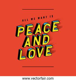 peace and love lettering vector design