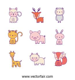 animals cartoons line and fill style icon set vector design