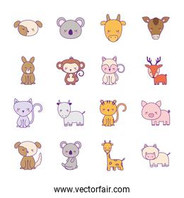 Cute animals cartoons line and fill style collections icons vector design