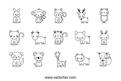 Cute animals cartoons line style set of icons vector design