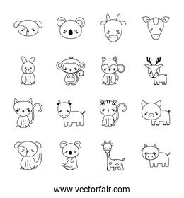 Cute animals cartoons line style collections icons vector design