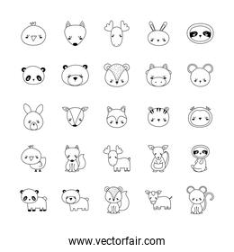 Cute animals cartoons line style icons group vector design
