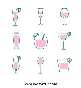 Cocktails glasses cups line and fill style icon set vector design