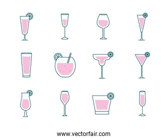 Cocktails glasses cups line and fill style set icons vector design