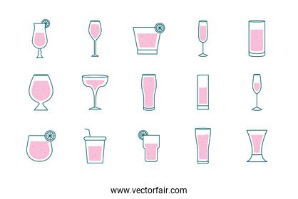 Cocktails glasses cups line and fill style set of icons vector design