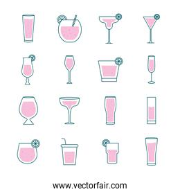 Cocktails glasses cups line and fill style collection of icons vector design