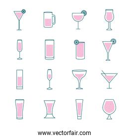 Cocktails glasses cups line and fill style icons collection vector design