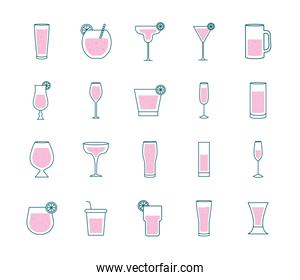 Cocktails glasses cups line and fill style bundle of icons vector design