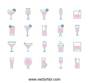 Cocktails glasses cups line and fill style icons bundle vector design
