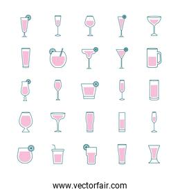 Cocktails glasses cups line and fill style icons group vector design