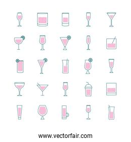 Cocktails glasses cups line and fill style symbols set vector design
