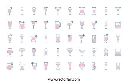 Cocktails glasses cups line and fill style 50 icon set vector design