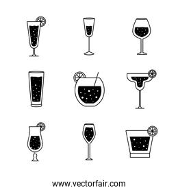 Cocktails glasses cups silhouette style icon set vector design