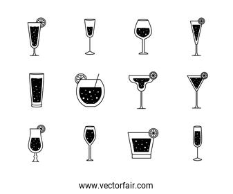 Cocktails glasses cups silhouette style set icons vector design