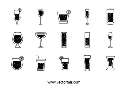 Cocktails glasses cups silhouette style set of icons vector design