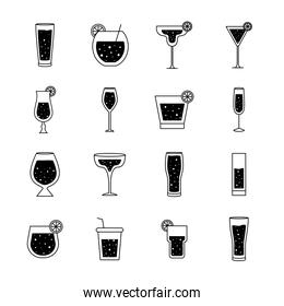 Cocktails glasses cups silhouette style collection of icons vector design