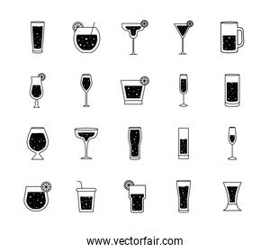 Cocktails glasses cups silhouette style bundle of icons vector design