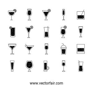 Cocktails glasses cups silhouette style icons bundle vector design