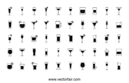 Cocktails glasses cups silhouette style 50 icon set vector design